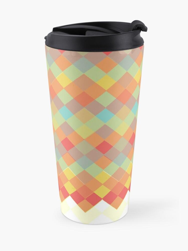 Alternate view of Tri-Colour Geometric Pattern Travel Mug