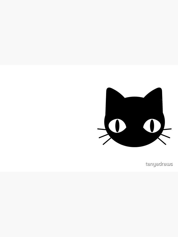 Cute & Freaky Black Cat Face by tanyadraws
