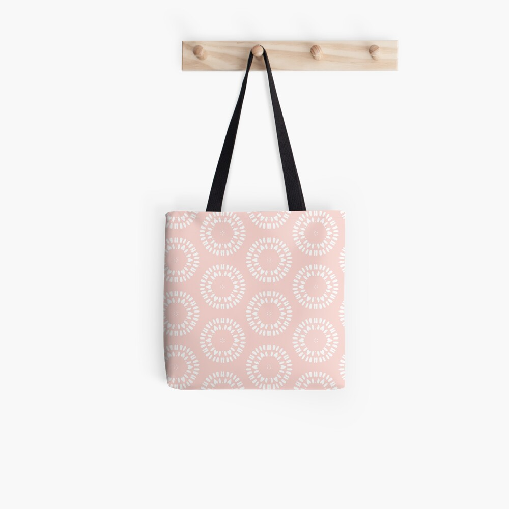 Cute Pink & White Drawn Circles Pattern Tote Bag