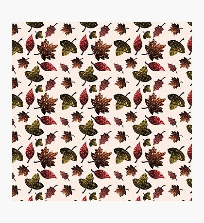 Sparkly leaves fall autumn sparkles pattern Photographic Print