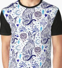Vintage Cat with Tattoos // Blue Print Graphic T-Shirt
