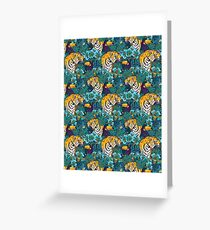 Tropical Pattern with Tiger, Toucan and Flowers // Blue Green Print Greeting Card