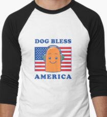 Dog Bless America Men's Baseball ¾ T-Shirt