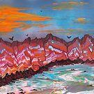 Fireballs over landscape by George Hunter