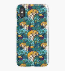 Tropical Pattern with Tiger, Toucan and Flowers // Blue Green Print iPhone Case/Skin