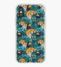 Vinilo o funda para iPhone Patrón tropical con tigre, tucán y flores // Blue Green Print