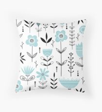 Aqua Blue Modern Floral Pattern Throw Pillow