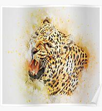 Paint splattered ferocious spotted leopard Poster
