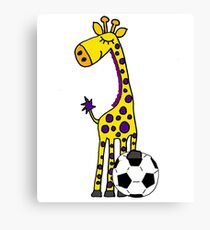 Cool Funny Giraffe Playing Football or Soccer Canvas Print