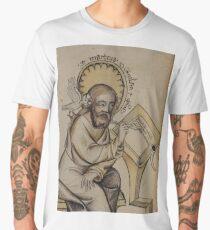Evangelist portrait of St. Matthew in a medieval manuscript  Men's Premium T-Shirt