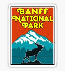 Banff National Park Canada Mountains Moose Vintage Sticker