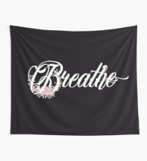 Breathe - Girly Inspirational Floral Quote Wall Tapestry