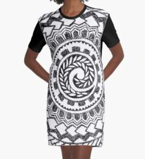 Retro Colorful 60s 70s Polynesian Tattoo (black) Graphic T-Shirt Dress