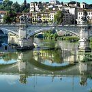 Tiber bridge in reflection. Rome by hans p olsen