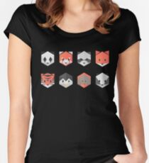 Animinimal mix (black) Women's Fitted Scoop T-Shirt