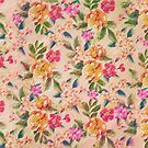 Golden Flitch (Digital Vintage Retro / Glitched Pastel Flowers - Floral design pattern) by badbugs