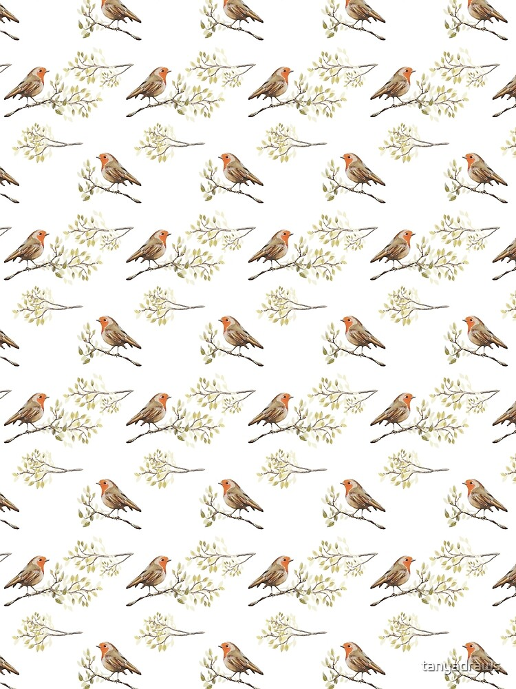 Watercolour European Robin & Branches Pattern by tanyadraws