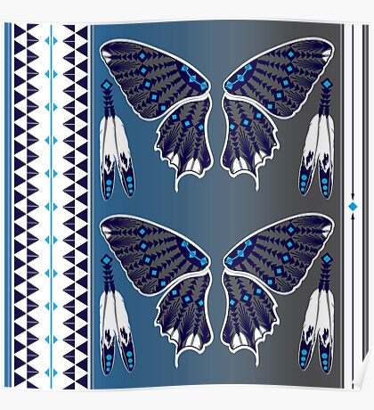 Butterfly Nation Blue Poster