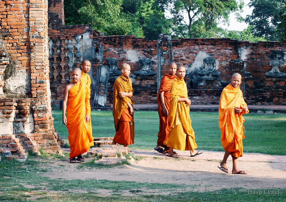 Monks At Ayuthaya by Dave Lloyd