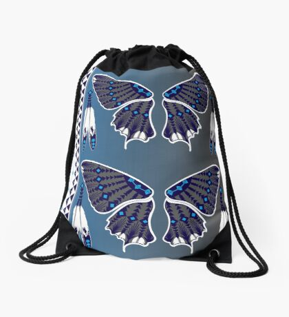 Butterfly Nation Blue Drawstring Bag