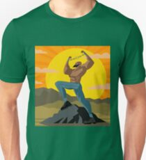 african slave breaking chains in the mountains T-Shirt