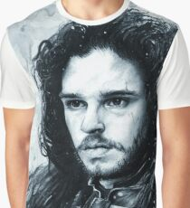 Jon Snow Graphite and Ink Portrait - Game of Thrones  Graphic T-Shirt