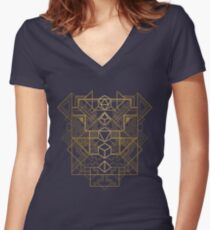 Dice Deco Gold Women's Fitted V-Neck T-Shirt