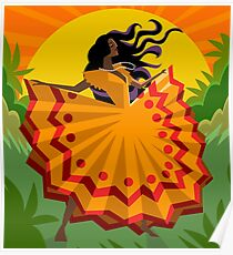 african long dress woman dancing in the nature Poster