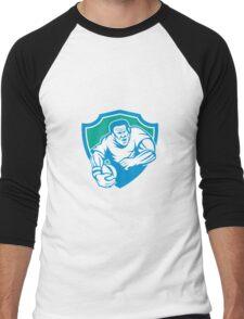 Rugby Player Running Ball Shield Linocut Men's Baseball ¾ T-Shirt