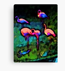 Rainbow Pink Flamingos with some Blue and Green Canvas Print