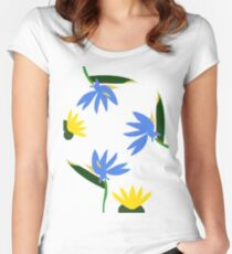 Yellow Lotus and Blue Strelitzia Women's Fitted Scoop T-Shirt