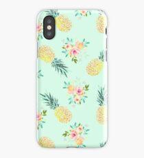 Pineapple Floral Summer Print, Girly Watercolor Flowers Pineapple Art iPhone Case/Skin