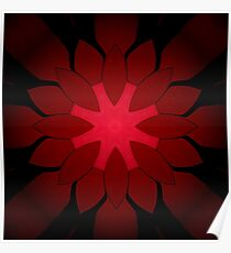 Ruby Red and Black Snowflake Holiday Design Poster