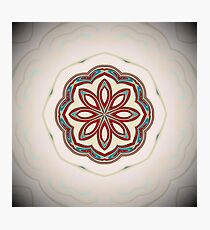 White Pearl background with Turquoise red flower Photographic Print