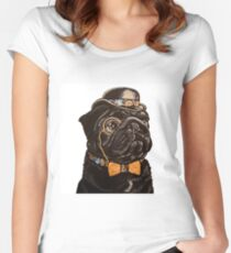 Dapper Black Pug Fitted Scoop T-Shirt