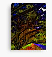 Landscape of Trees and Branches with some Purple and Green Canvas Print