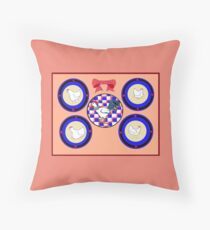 A Collage of Plates with Hens and Rooster with Peach Wall Throw Pillow
