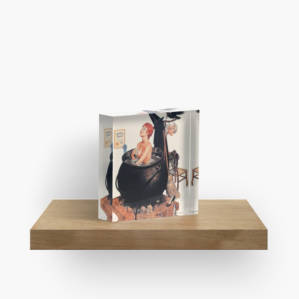 Pin up young witch on bath, vintage Halloween greetings Acrylic Block