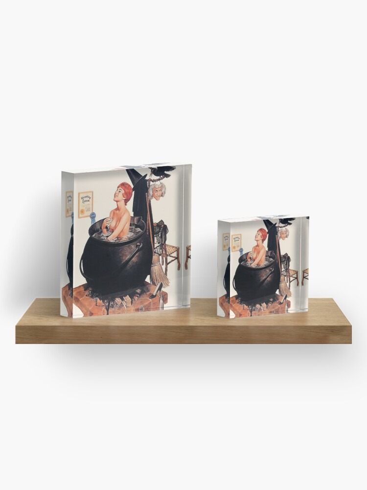Alternate view of Pin up young witch on bath, vintage Halloween greetings Acrylic Block