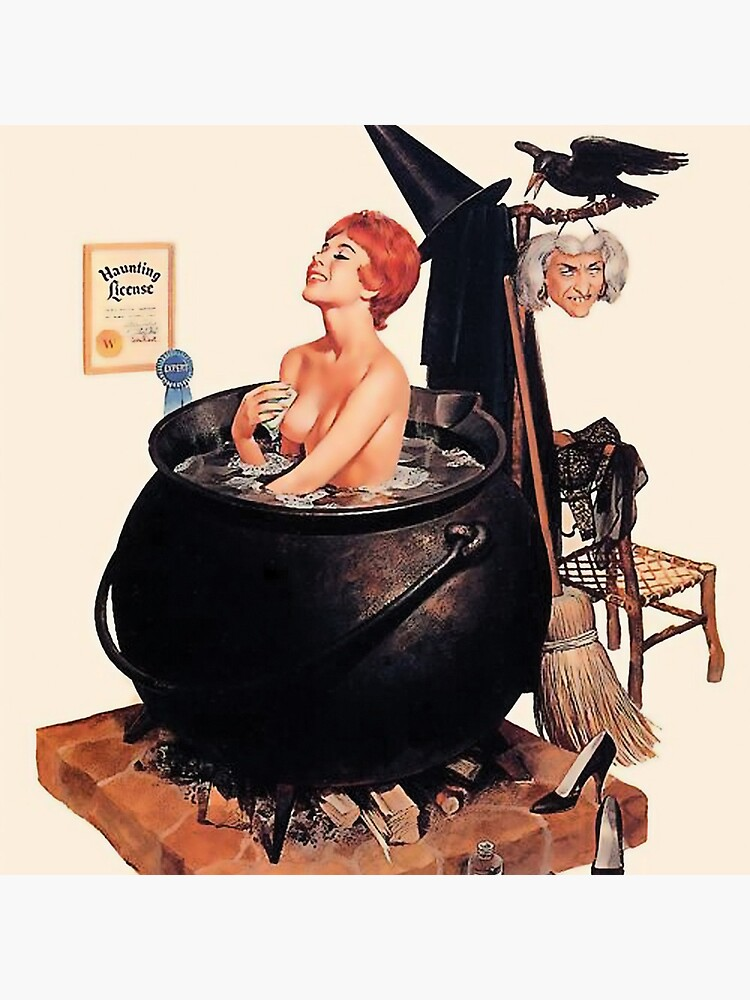Pin up young witch on bath, vintage Halloween greetings by AmorOmniaVincit