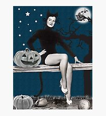 Pin up woman in Halloween black cat costume Photographic Print