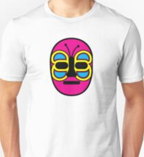 Lucha Libre // Mexican Wrestling Mask Pink with Butterfly Slim Fit T-Shirt