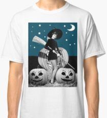 Pin up young witch with pumpkins on Halloween night Classic T-Shirt