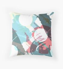 Abstract brush strokes and circles Throw Pillow