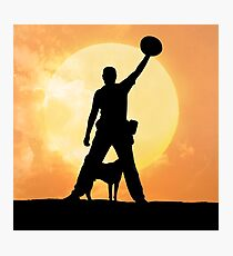 Male silhouette on background amazing sunset Photographic Print