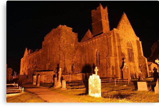 Quin Abbey at night 1 by John Quinn