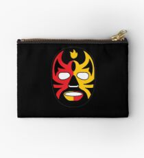 """""""Lucha Libre"""" (Free Fight) Mexican Wrestling Mask Red & Yellow Fire Zipper Pouch"""