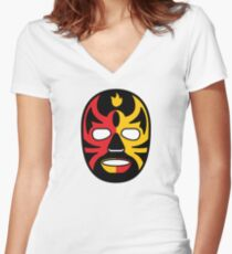 """""""Lucha Libre"""" (Free Fight) Mexican Wrestling Mask Red & Yellow Fire Women's Fitted V-Neck T-Shirt"""