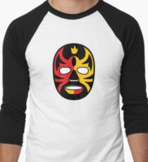 """Lucha Libre"" (Free Fight) Mexican Wrestling Mask Red & Yellow Fire Baseball ¾ Sleeve T-Shirt"
