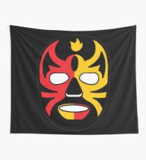 """""""Lucha Libre"""" (Free Fight) Mexican Wrestling Mask Red & Yellow Fire Wall Tapestry"""